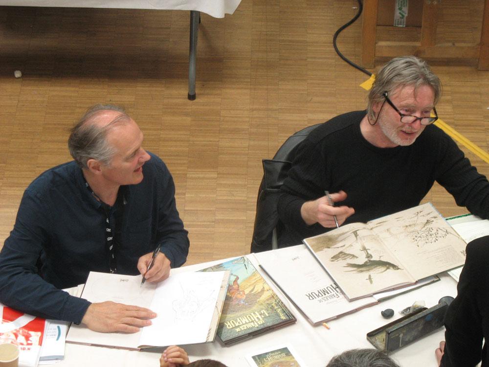 Pierre Bordage et Olivier Roman en dédicace